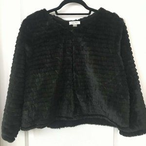 CALVIN KLEIN plush faux fur cropped shrug black